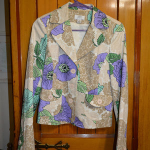 Ann Taylor LOFT floral blazer with matching skirt
